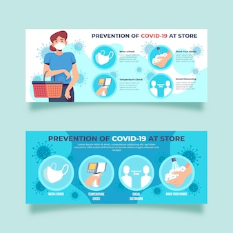 Prevention covid-19 at store banners design
