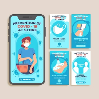Prevention covid-19 at store instagram stories