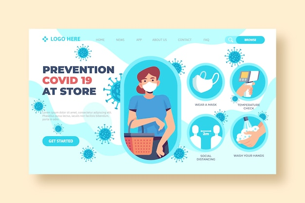 Prevention covid-19 at store landing page