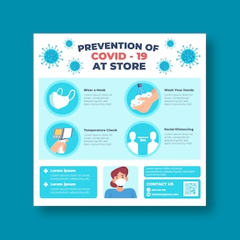 Prevention covid-19 at store square flyer template