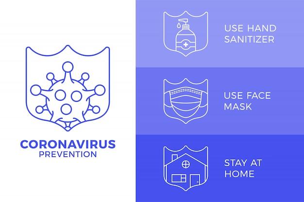 Covid-19の防止オールインワンアイコンポスターイラスト。概要アイコンセットとコロナウイルス保護チラシ。家にいる、フェイスマスクを使う、手の消毒剤を使う