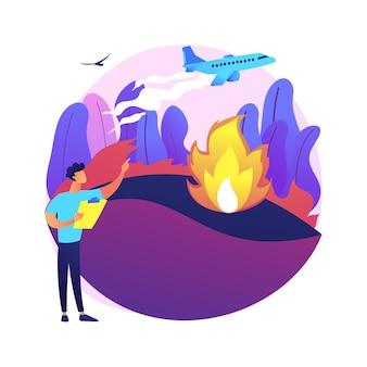 山火事の防止抽象的な概念図。森林と草の火災、大火の安全工学、山火事の防止、消防サービス、野生生物の保護