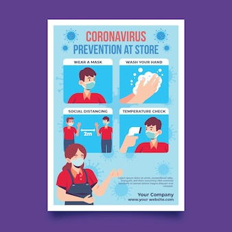 Prevention poster for being healthy in stores