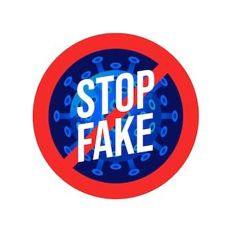 Предупреждающие знаки, остановите фейдовые новости для вируса covid-19 или нового символа коронавируса, пойте символ фон, векторные иллюстрации.