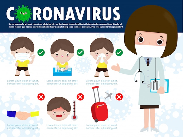 Prevention tips infographic of coronavirus 2019 ncov. wearing face mask, one meter distance between people, washing hands with soap, sneezing cover mouth and nose with tissue. concept of flu outbreak
