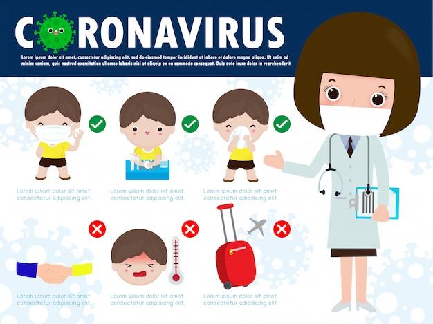 コロナウイルス2019 ncovの予防のヒントのインフォグラフィック。フェイスマスクを着用し、人と人との距離を1メートルにし、石鹸で手を洗い、カバーの口と鼻をくしゃみをし、ティッシュで拭きます。インフルエンザの発生の概念