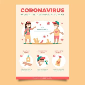 学校での予防策のポスターテンプレート