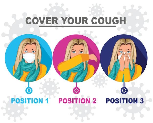 予防策のアイコン咳やくしゃみをする方法とウイルスを広めない方法