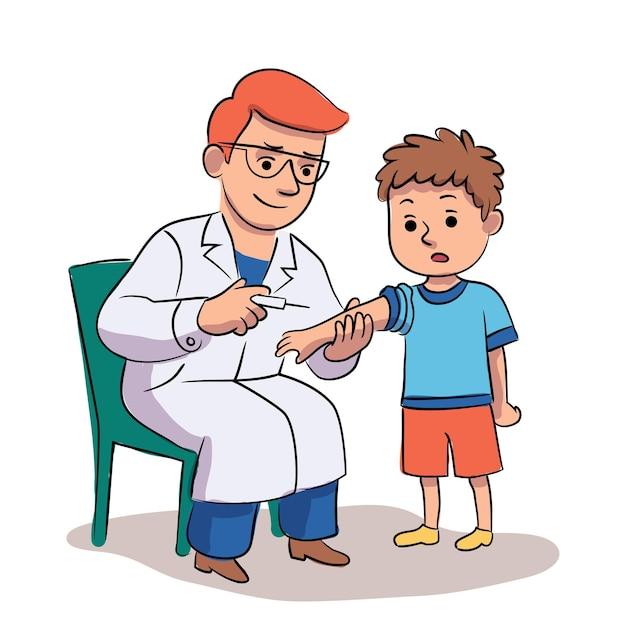병원에서 어린이를 위한 예방 접종. 의사 예방 접종 소년 아이입니다. 주사를 만드는 소아과 의사. 의료, 질병 예방, 건강 관리 및 예방 접종