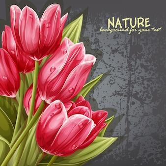 テキストのピンクのチューリップの背景の花束をプレビュー