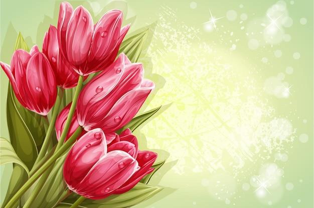텍스트에 대한 핑크 튤립의 배경 꽃다발 미리보기