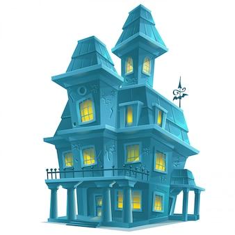 白い背景のハロウィーンで怖いお化け屋敷をプレビュー