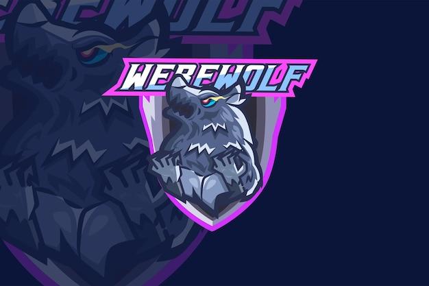 Preview werewolf - esport logo template