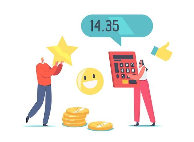 価格と品質のバランス。巨大な電卓とゴールドスターを保持している小さなキャラクター。製品のコストと価値に対する顧客満足度。バイヤーのためのショッピングオファー。漫画の人々のベクトル図