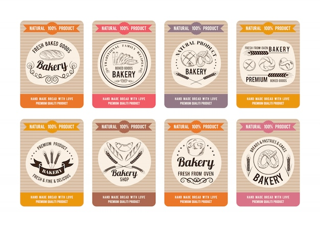 Price cards with different types of bread. labels for bakery shop.