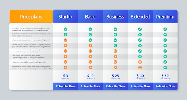 Price comparison table.   illustration. chart plan template.