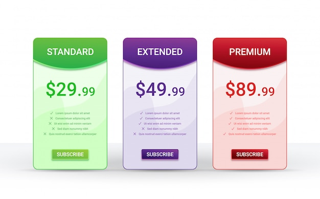 Price comparison table layout template for three products,