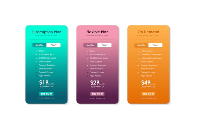 가격 비교표, 웹 사이트, 응용 프로그램 및 비즈니스를위한 가격표 템플릿, 가입 계획