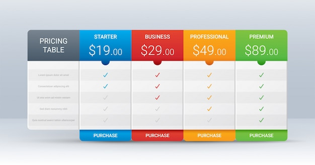 Price comparison table   template