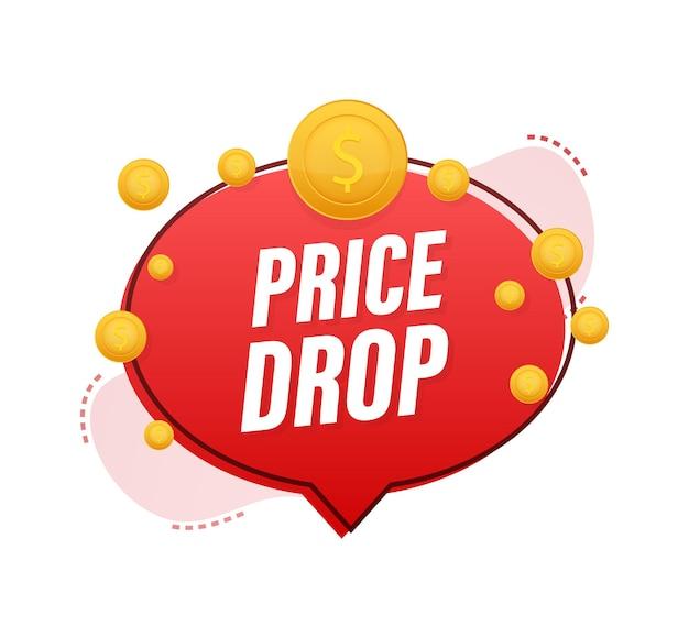 Price drop banner template design. sale special offer. vector stock illustration.