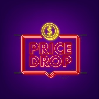 Price drop neon banner template design. sale special offer. vector stock illustration.