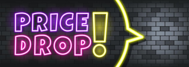 Price drop neon text on the stone background. price drop. for business, marketing and advertising. vector on isolated background. eps 10.