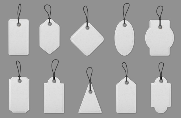 Price label tag cards. realistic white shopping labels with ropes, hanging tags for marking pricing, vintage paper label mockup vector set. empty template for gift box or luggage of various shape