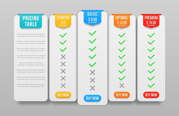 Price list for website set of pricing table hosting plans and web boxes banners design