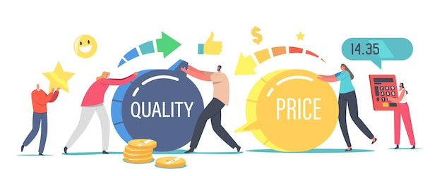 Price and quality balance concept. tiny male female characters turning huge switches. customers satisfaction with product cost and worth. shopping offer for buyers. cartoon people vector illustration