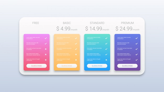 Price table business template with four options