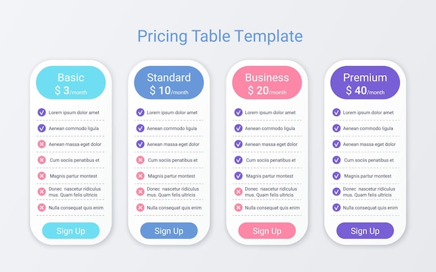 Price table plans. comparison chart template. vector. pricing data grid. spreadsheet page with 4 columns. checklist compare tariff banner. comparative spreadsheets with options. simple illustration. Premium Vector