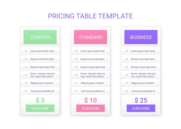 Price table plans. pricing chart template. vector. comparison data grid. spreadsheet page with 3 columns. comparative spreadsheets with options. checklist compare tariff banner. simple illustration.