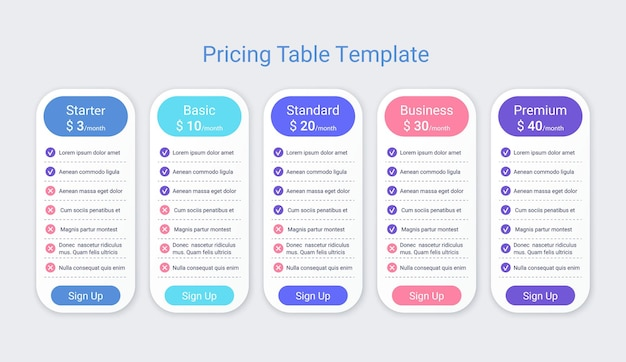 Price table template comparison data plans pricing chart grid spreadsheet page with 5 columns