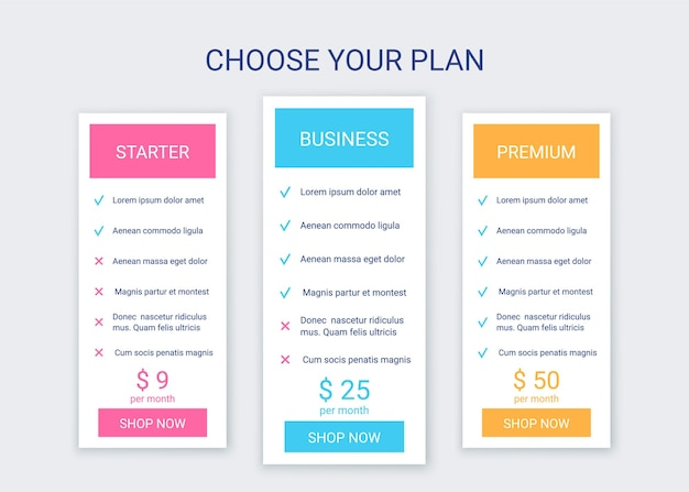 Price table template pricing chart grid comparison data plans spreadsheet page with 3 columns Premium Vector