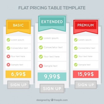 Price tables templates in flat design