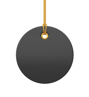 Price tag. black blank tag hanging on gold rope. discount label isolated on transparent background. tag label icon for websites and apps. realistic 3d vector illustration.