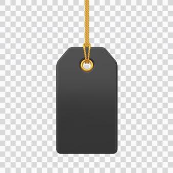 Ценник. черный пустой тег висит на золотой веревке. этикетка со скидкой, изолированные на прозрачном фоне. значок ярлыка тега для веб-сайтов и приложений. реалистичные 3d векторные иллюстрации.