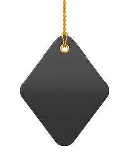 値札。金のロープにぶら下がっている黒い空白のタグ。透明な背景に分離された割引ラベル。ウェブサイトやアプリのタグラベルアイコン。リアルな3dベクトルイラスト。