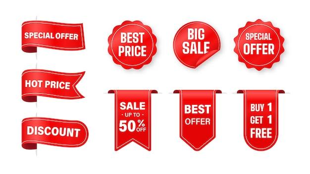 가격표 수집. 리본 판매 라벨 제품 가격 할인을위한 특별 제공.