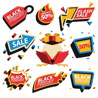 Price tag discount and sale badge collection for black friday