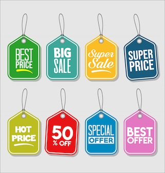 Price tag modern colorful collection