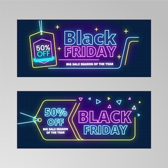 Price tag neon lights for black friday banner