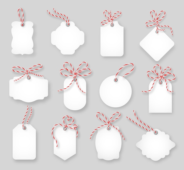 가격표와 선물 카드는 꼬기 리본 세트로 묶여 있습니다. 라벨 용지, 판매 디자인, 트링 매듭, 벡터 일러스트 레이션
