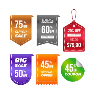 Price tags collection. ribbon sale banners isolated. new collection offers sticker design.