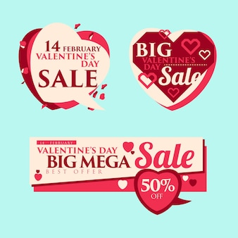 Price tags sale template or banner valentine's day.
