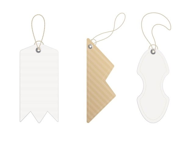 Price tags. set of labels with cord. paper price or gift tags in different shapes.