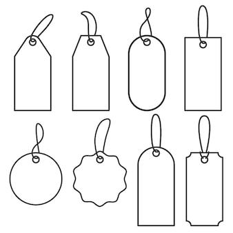 値札。販売または荷物のアイコンのセット。ベクトルアウトラインラベルイラスト
