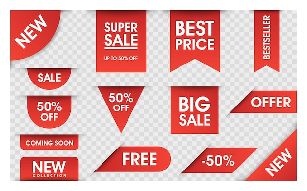 Коллекция векторных ценники. изолированные баннеры продажи ленты. предлагает новую коллекцию. этикетки или значки. баннеры для рекламы.
