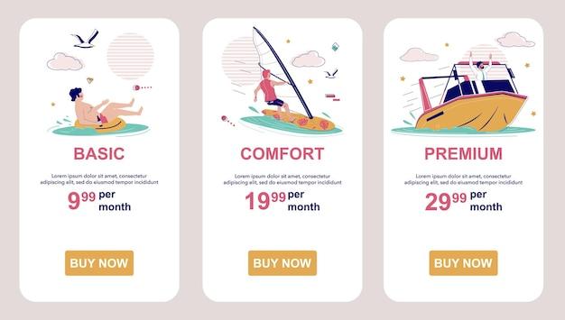 Цены или планы подписки прайс-лист экраны мобильных приложений векторный баннер веб-сайта ui web si ...