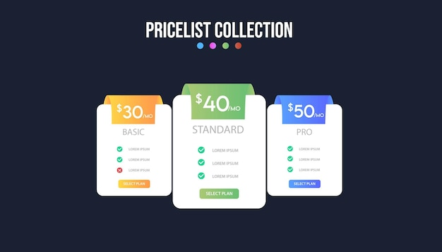 Pricing plan banners infographic template.